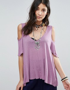 Блузка с вырезами на плечах Free People Bittersweet - Фиолетовый