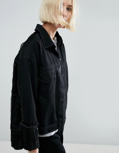 Джинсовая куртка с контрастной отделкой из органзы ASOS WHITE - Черный