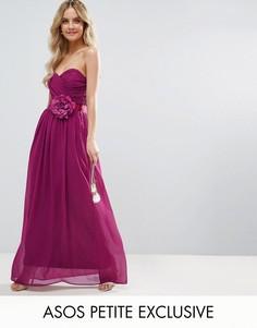 Шифоновое платье-бандо макси с цветком ASOS PETITE WEDDING - Розовый