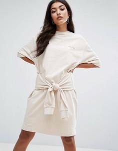 Трикотажное платье-футболка с завязкой на талии Ellesse - Кремовый