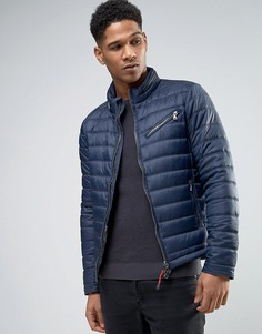 Дутая куртка со скрытым капюшоном Sisley - Темно-синий