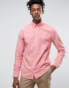 Приталенная рубашка на пуговицах из 2-цветной ткани BOSS Orange by Hugo Boss - Красный