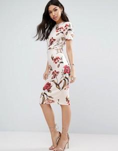 Платье миди с цветочным принтом ASOS - Мульти