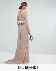 Кружевное платье макси с бантом сзади TFNC Tall Wedding - Розовый
