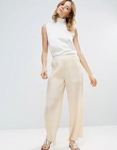 Плиссированные брюки цвета слоновой кости Ganni Hall - Кремовый