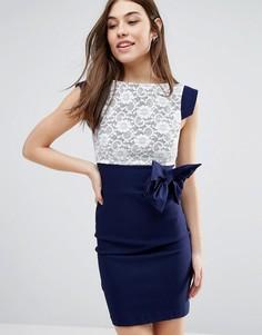 Платье миди с кружевом и бантом Vesper - Темно-синий