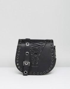 Черная сумка-седло со шнуровкой Marc B - Черный