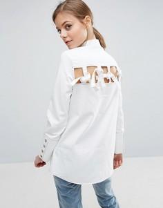Белая джинсовая рубашка с декоративными завязками сзади ASOS - Белый