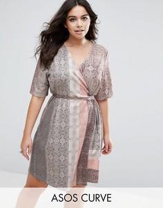 Цельнокройное платье с запахом и принтом змеиной кожи ASOS CURVE - Мульти