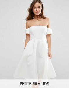 Короткое приталенное платье из фактурной ткани City Goddess Petite - Кремовый