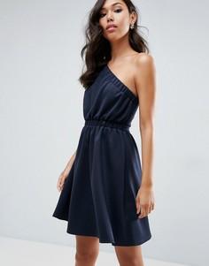 Асимметричное платье для выпускного мини ASOS - Темно-синий