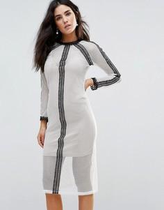 Сетчатое платье миди с кружевными вставками и комбинацией Goldie Vibration - Кремовый