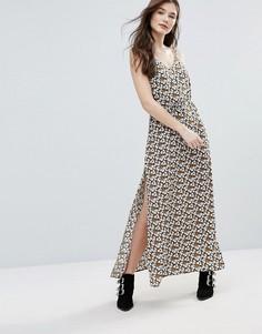 Платье макси с принтом и разрезами по бокам Goldie Long Island - Мульти
