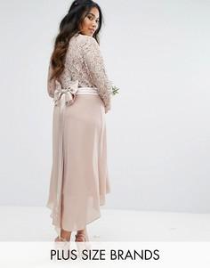 Платье миди с кружевом и бантом TFNC Plus Wedding - Серый