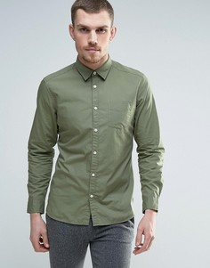 Хлопковая узкая рубашка Esprit - Зеленый