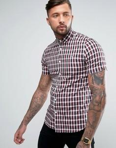 Рубашка с короткими рукавами в клеточку Fred Perry - Красный
