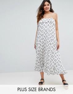 Платье макси с оборкой на топе Diya Plus - Белый