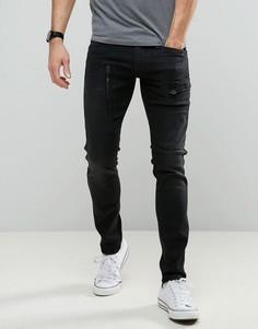 Черные суперузкие джинсы с карманами карго на молнии G-Star Powel - Черный