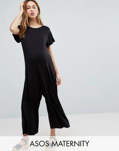 Свободный комбинезон с широкими штанинами ASOS Maternity - Черный