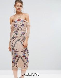 Кружевное платье миди с вышивкой и открытыми плечами Hope & Ivy - Мульти