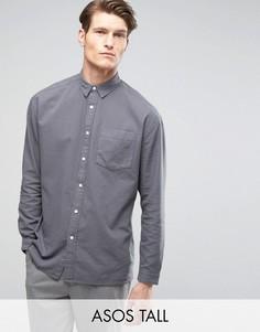 Серая оксфордская oversize-рубашка с выбеленным эффектом ASOS TALL - Серый