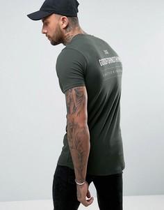 Обтягивающая футболка цвета хаки с принтом на спине Good For Nothing - Зеленый