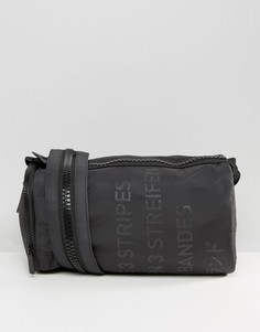 Сумка дафл с 3 полосками и массивной молнией на ремешке adidas Originals - Черный