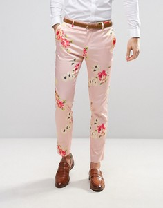 Розовые строгие зауженные брюки с цветочным принтом ASOS WEDDING - Розовый