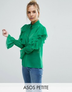 Деконструированная блузка с открытыми плечами и оборками ASOS PETITE - Зеленый