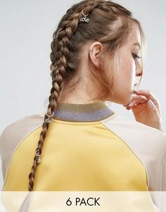 Набор из 6 колец для волос с подвеской Love ASOS - Золотой