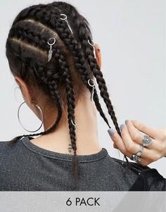 Набор из 6 колец для волос с подвесками-листьями ASOS - Серебряный