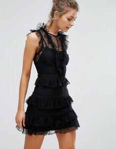 Кружевное платье мини с оборками и ярусной юбкой True Decadence - Черный