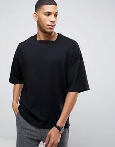 Трикотажная oversize-футболка с квадратной горловиной ASOS - Черный