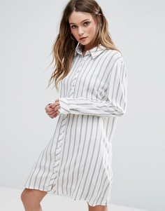 Полосатое платье-рубашка Glamorous - Белый