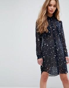 Платье-рубашка с принтом Samsoe & Samsoe Molly - Темно-синий