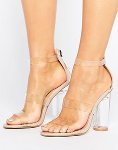 Прозрачные сандалии на каблуке Truffle Collection - Бежевый