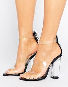 Прозрачные сандалии на каблуке Truffle Collection - Черный