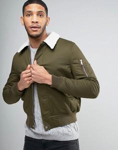 Куртка Харрингтон цвета хаки с воротником борг New Look - Зеленый