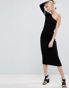 Облегающее платье миди в рубчик на одно плечо ASOS - Черный