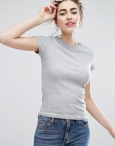 Трикотажная футболка с круглым вырезом Monki - Серый