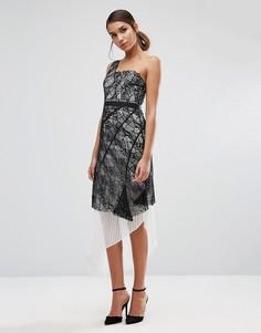 Кружевное платье на одно плечо с плиссированным подъюбником Three Floor - Мульти