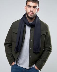 Шерстяной шарф с флажком Tommy Hilfiger - Темно-синий