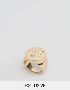 Кольцо с надписью Lucky Monki - Золотой