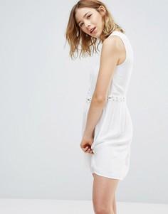 Платье из шамбре со шнуровкой First & I - Белый