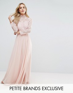 Платье макси с кружевным лифом и открытой спиной John Zack Petite - Розовый