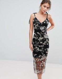 Платье миди на бретельках с цветочной вышивкой True Violet - Черный