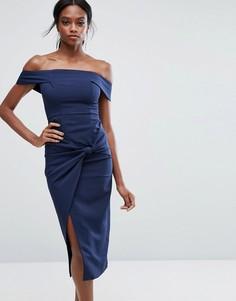 Платье миди с широким вырезом и отделкой в виде узла Lavish Alice - Темно-синий