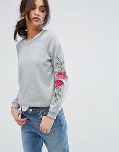 Свитер с цветочной вышивкой Vero Moda - Серый