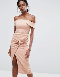 Платье миди с широким вырезом и отделкой в виде узла Lavish Alice - Розовый