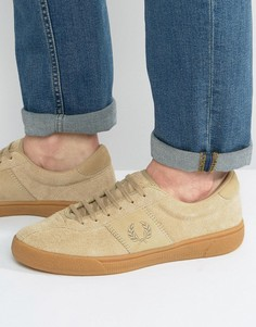 Замшевые кроссовки Fred Perry Authentic - Бежевый